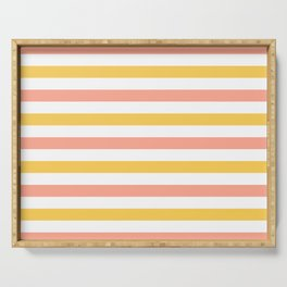 Yellow, coral and white horizontal stripes Serving Tray