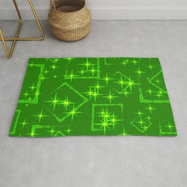 Lime diamonds and squares at the intersection with the stars on a green background. Rug