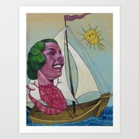 sailing Art Prints featuring Sailing by busymockingbird