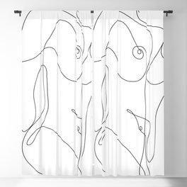 Minimal Line Art One Line Female Figure II Blackout Curtain