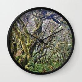 Laurisilva. Foggy mistery forest Wall Clock