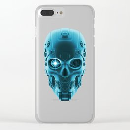 Gamer Skull BLUE TECH / 3D render of cyborg head Clear iPhone Case