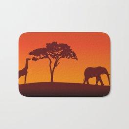 African Safari Silhouette Bath Mat