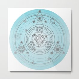 Blue Sacred geometry art, blue home decor Metal Print