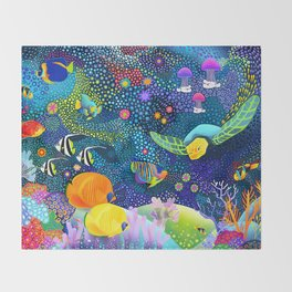 Ocean Tropical Fish Life Throw Blanket