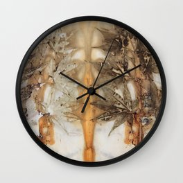 Imprint of the leaves and plants Wall Clock