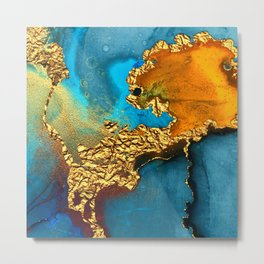 Glitter Gold Fairy Dust On Turquoise Blue Abstract Metal Print