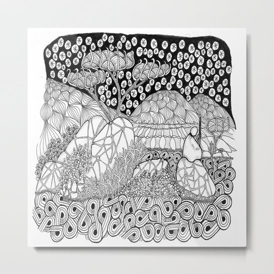 Zentangle Night Solitude Metal Print