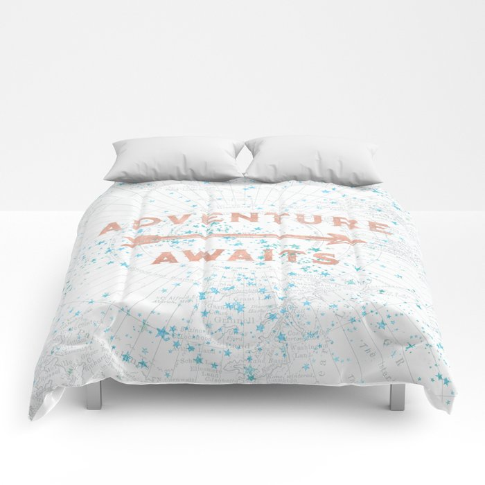 Adventure Awaits Rose Gold Comforters