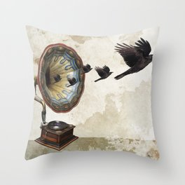 the sound of crows Throw Pillow