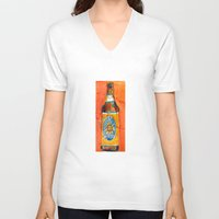 ale giorgini V-neck T-shirts featuring BEER ART - Oberon Ale by Dorrie Rifkin Watercolors