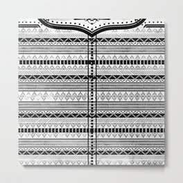 Harry Potter Inspired Tribal Print (Black and White) Metal Print