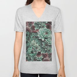 Succulent Sempervivum Plants Unisex V-Neck