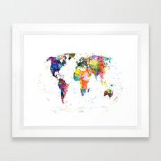 world map political watercolor 2 Framed Art Print