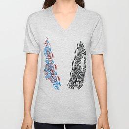 Letter V, Black/Red/Blue Abstract (Ink Drawing) Unisex V-Neck