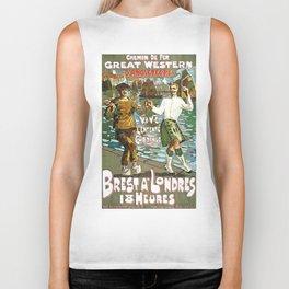 France to England, Brest to London vintage travel ad Biker Tank