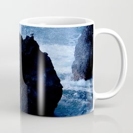 Tiny Bird at Rest on Rock Amidst Stormy Seas Coffee Mug