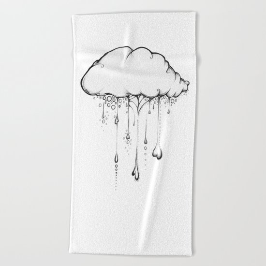 Happy Cloud Drawing, Cute Whimsical Illustration Beach Towel