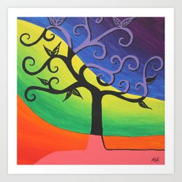 Abstract Tree Painting- Bright Artwork, Abstract Paintings, Colorful Home Decor, Funky Wall Art Art Print