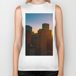 Chicago Skyline Sunset Biker Tank