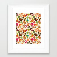 birds Framed Art Prints featuring Little Birds by Valentina Harper