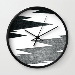 Black Lightning Bolt on a White Background Digital Artwork Wall Clock