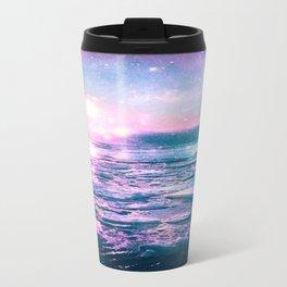 Mystic Waters Vibrant Pink Blue Lavender Travel Mug