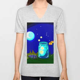 A Jar of Fireflies at Night Unisex V-Neck