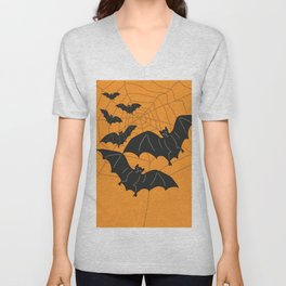 Flying Bats orange Unisex V-Neck