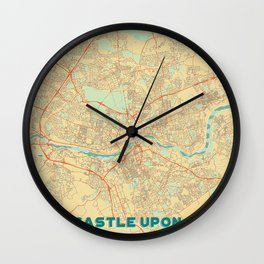 Newcastle upon Tyne Map Retro Wall Clock