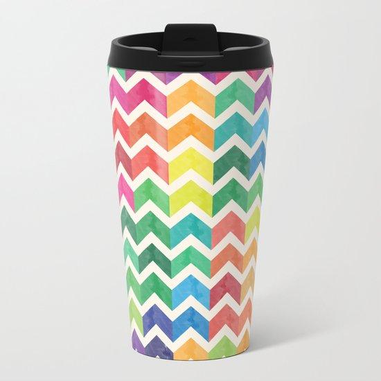 Watercolor Chevron Pattern IV Metal Travel Mug