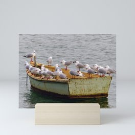 Seagulls on a Drifting Canoe Mini Art Print