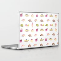 dessert Laptop & iPad Skins featuring Dessert Pattern by Stephanie Priscilla