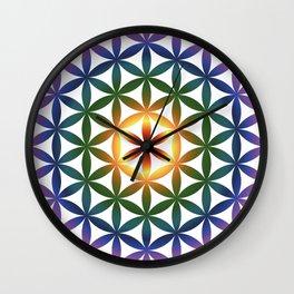 Rainbow tree of life colourful seed of life Wall Clock