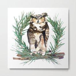 Evergreen Owl Metal Print