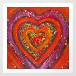 Red Colorful Heart Art Print