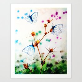 Butterfly & thistle Art Print