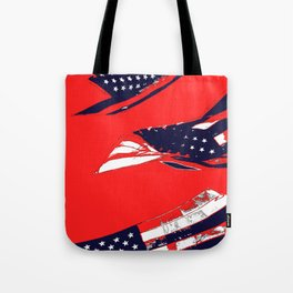 Dynamic Pop Painting of a waving American Flag Tote Bag