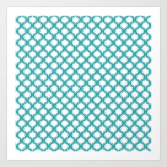 Aqua Ogee Ikat Pattern Art Print