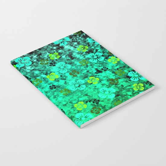 LUCK OF THE IRISH Colorful Emerald Green Ombre St Patricks Day Floral Shamrock Four Leaf Clover Art Notebook