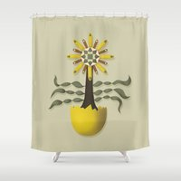 arya Shower Curtains featuring Flower Fingers by Hinal Arya
