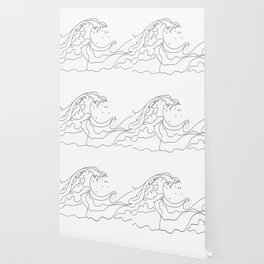 Minimal Line Art Ocean Waves Wallpaper