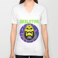 skeletor V-neck T-shirts featuring Skeletor by Michael Keene