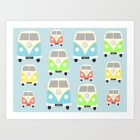 vans Art Prints featuring Camper Vans by Laura Maria Designs