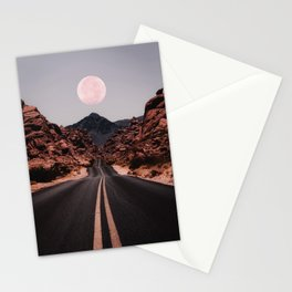 Road Red Moon Stationery Cards