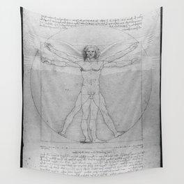 Leonardo da Vinci Vitruvian Man with Wings Study of Angels Wall Tapestry