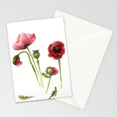 Red Poppies - Botanical Art - watercolor Stationery Cards