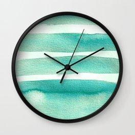 Robin Egg Blue Teal Minimalist Watercolor Wall Clock
