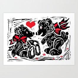 Teds in Love, lino cut Art Print