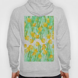 Colorful hand painted watercolor daffodil flowers  Hoody